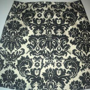 Loft Ann Taylor  Black & White Floral Skirt